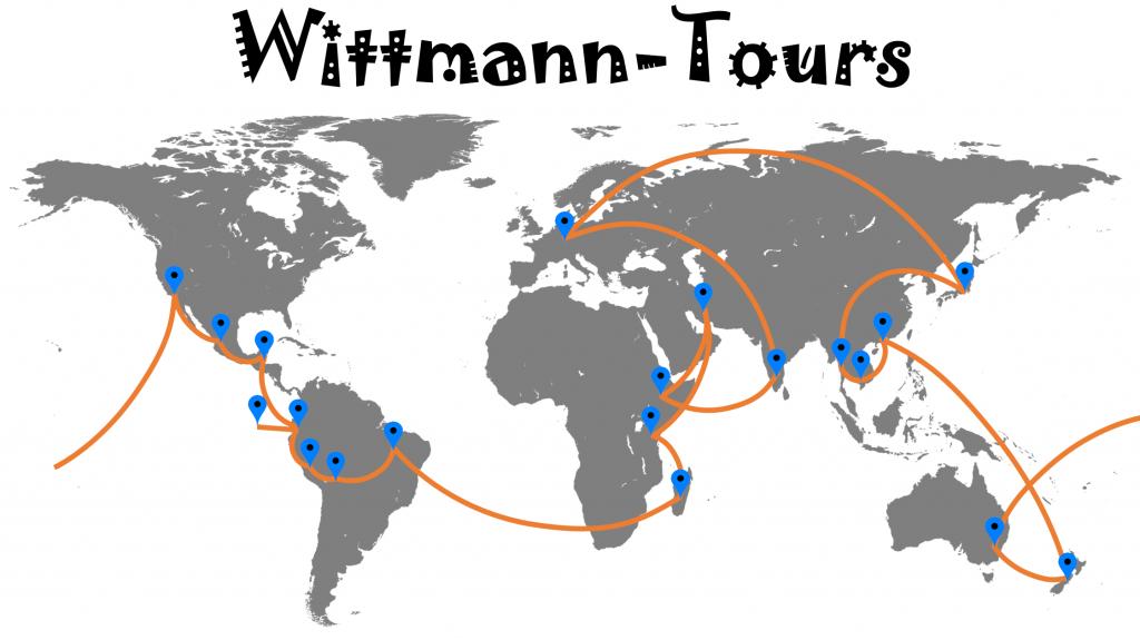 Reiseroute Wittmann-Tours Weltreise
