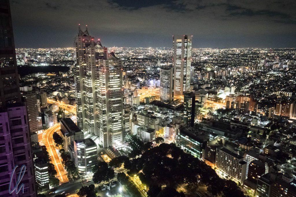 Blick vom Metropolitan Government Building über das Lichtermeer von Tokyo