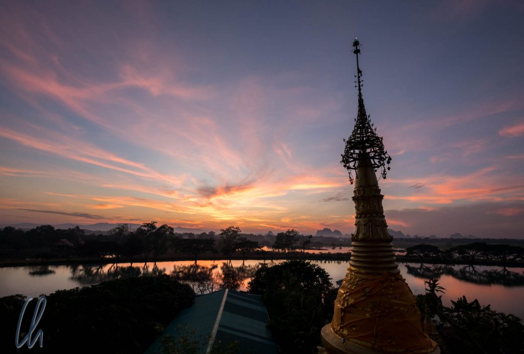 Sonnenuntergang bei Kyauk Kalat