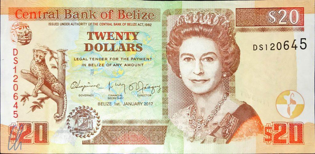 20 Belize Dollar, präsentiert von einer jungen Queen
