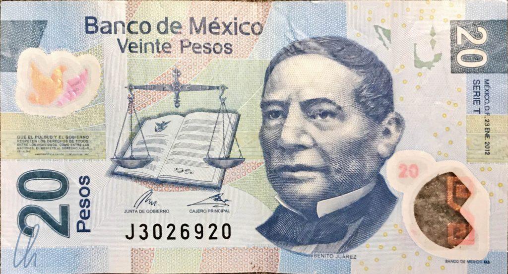 20 Pesos, knapp ein Euro, Mexiko hat Benito Juarez viel zu verdanken, er war 3 mal Präsident