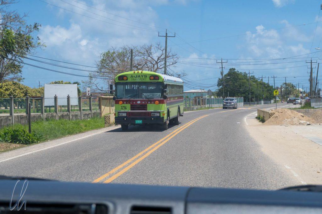 Verkehr in Belize: Geteerte Landstraßen und Schulbusse als Überlandbusse