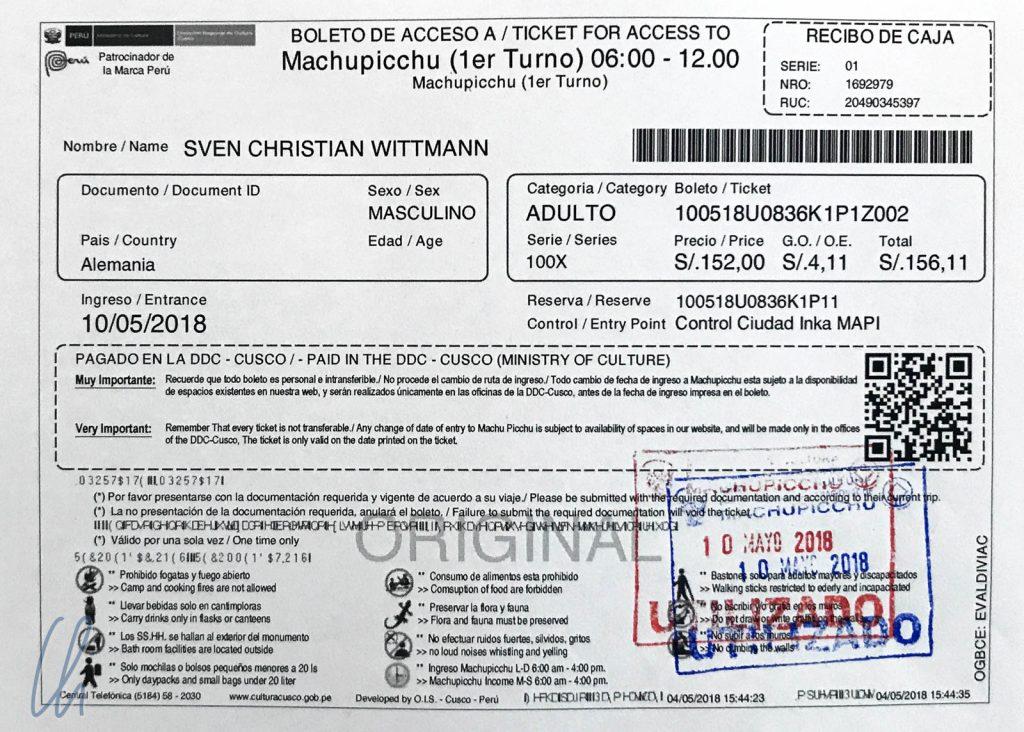 Am besten im voraus kaufen: Das Machu Picchu-Ticket