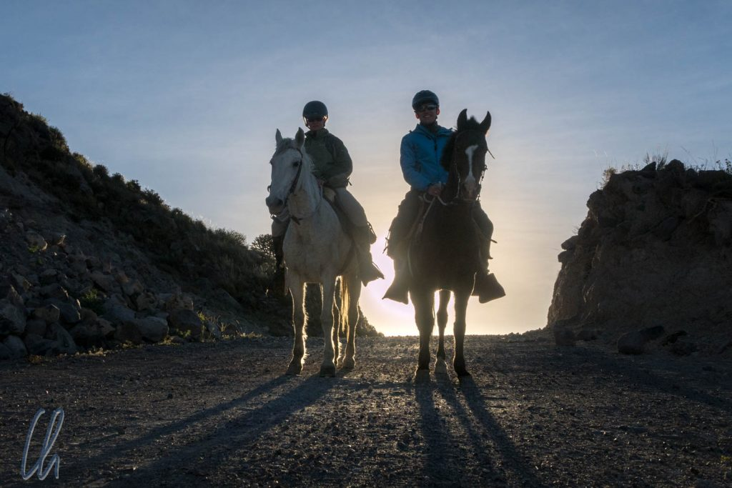 Pferde und Reiter im Abendlicht: Mona auf Machi, Christian auf Clavel