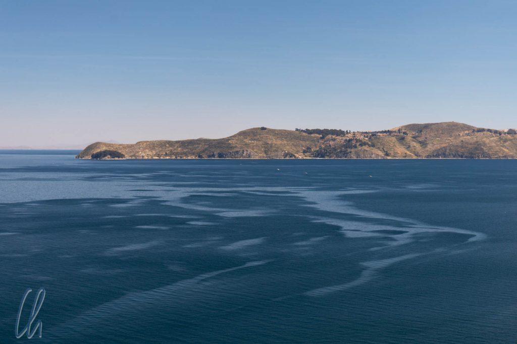 Die Südseite der Isla del Sol (von der Isla del la Luna aus gesehen)