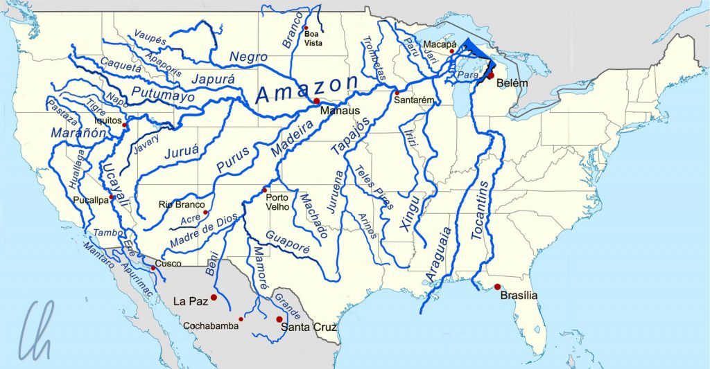 Größenvergleich: Der Amazonas und die USA
