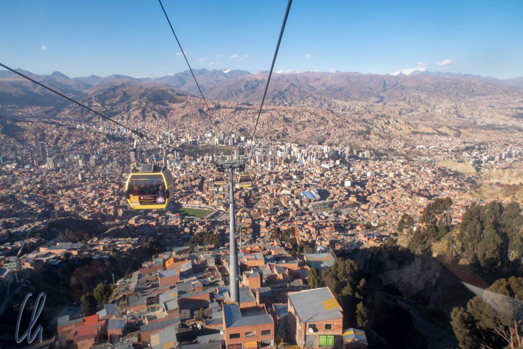 Blick über La Paz aus der gelben Linie