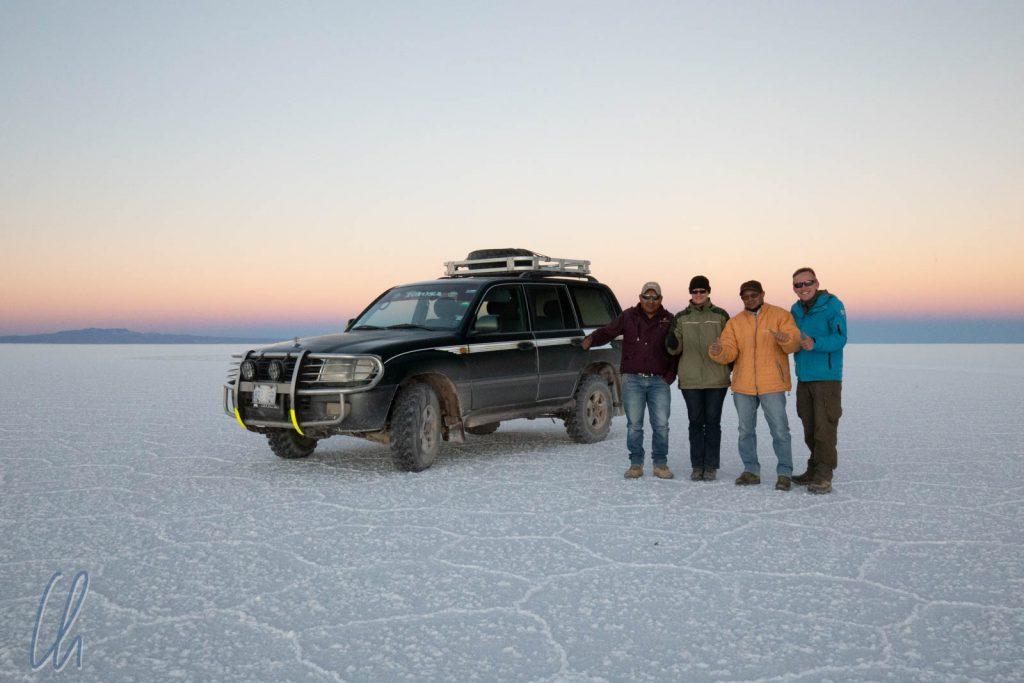 Die Salar de Uyuni Crew: Rubén (Zorro), Mona, Diter und Christian
