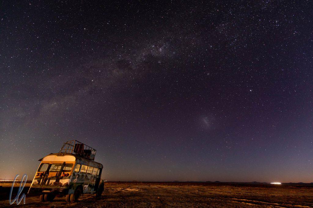 Auf zu den Sternen! Die Milchstraße über dem Salar de Uyuni.