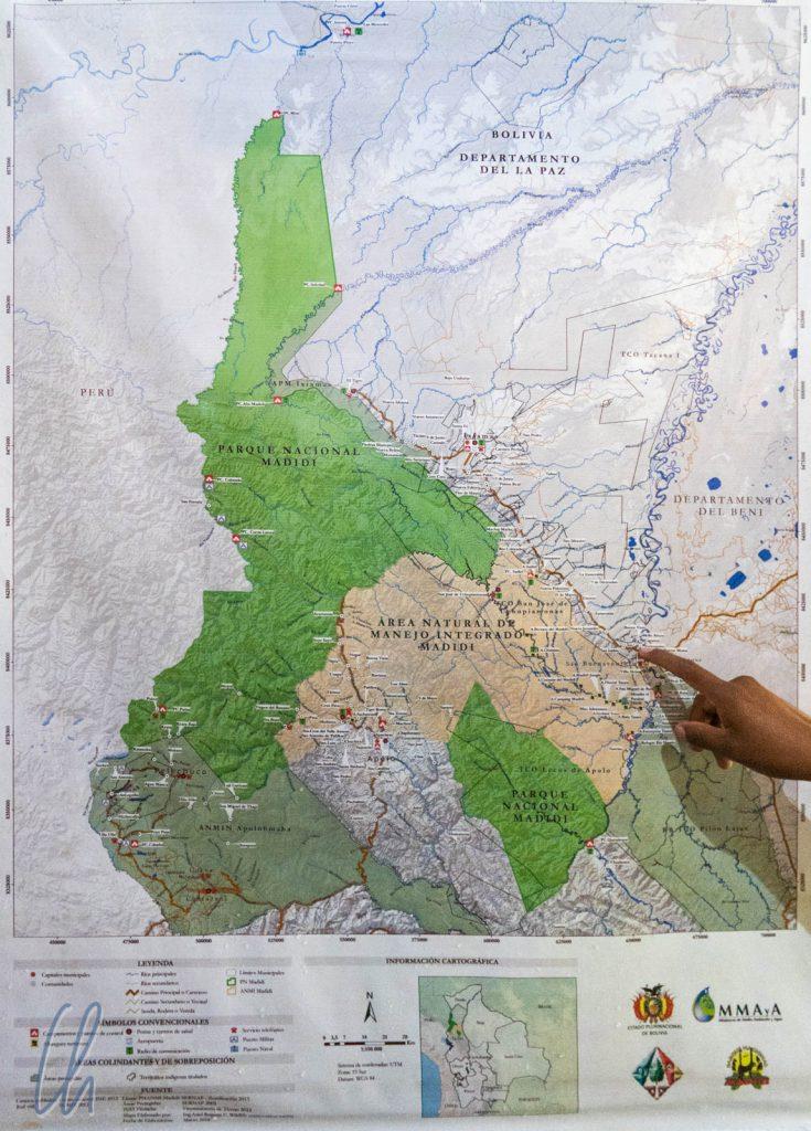 Eine Karte des Madidi-Nationalparks: 18 Ranger schützen ihn.