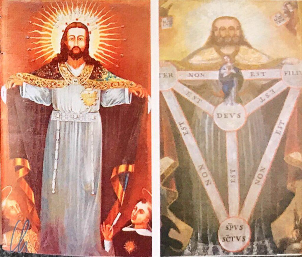 Rechts ist das ursprüngliche Gemälde Nuestro Señor Jesús del Gran Poder, links die neue Version (abfotografiert aus einem kleinen Heftchen, das bei der Fiesta ausgeteilt wurde)