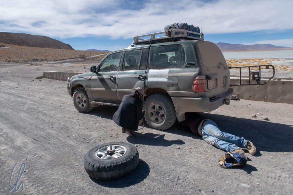Am vierten Tag war ein Reifen hinüber, zum Glück war Reserve vorhanden.