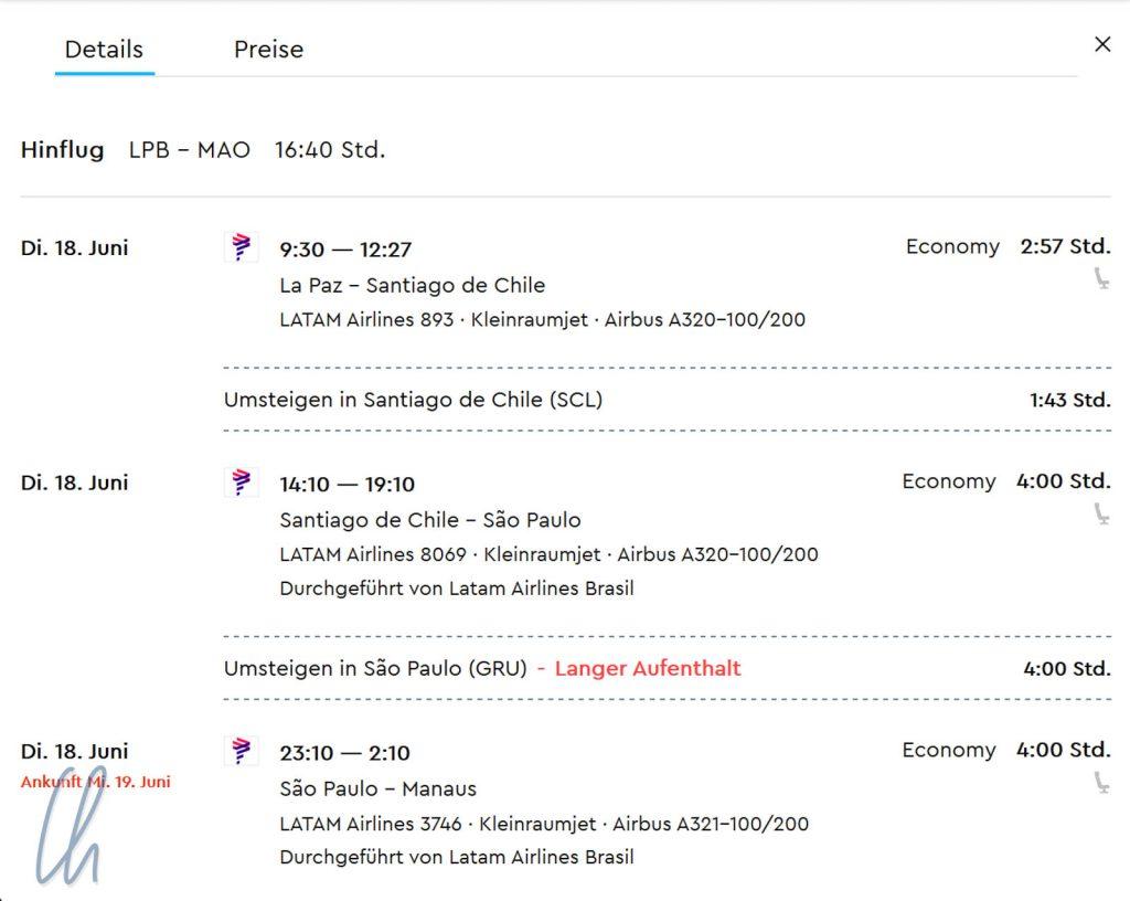 Kein direkter Flug von La Paz nach Brasilien, würde man für 2019 zu gleichen Datum suchen wäre das eine der besten Routen.