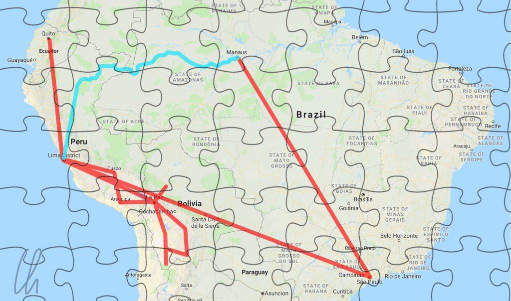 Kaum Ost-West Verbindungen: In Türkis der mögliche Landweg und in Rot unsere tatsächliche Route.