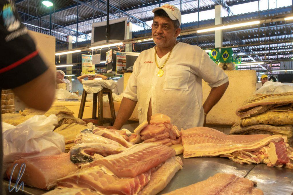 Pirarucú-Filet, ein ganzer Fisch würde nicht auf die Theke passen.