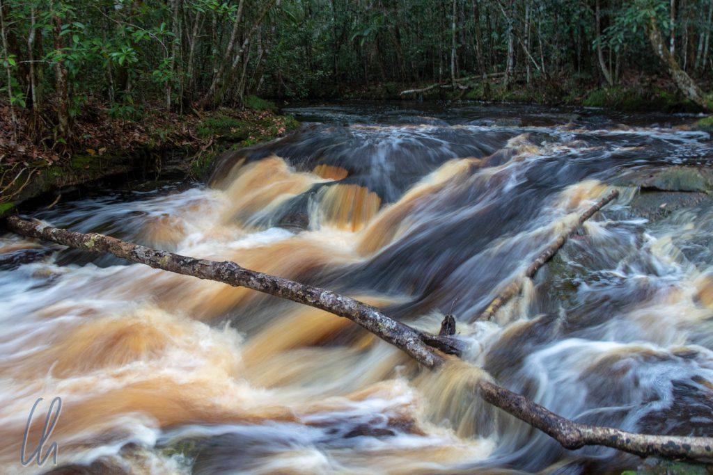 Im Wasserfall zeigt der Fluss seine wahre Farbe.