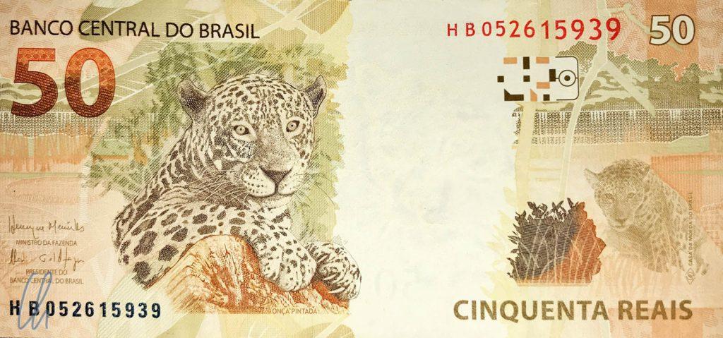 Auf jedem Schein ein anderes Tier. Am besten hat uns der Jaguar auf dem 50 Reais-Schein gefallen.