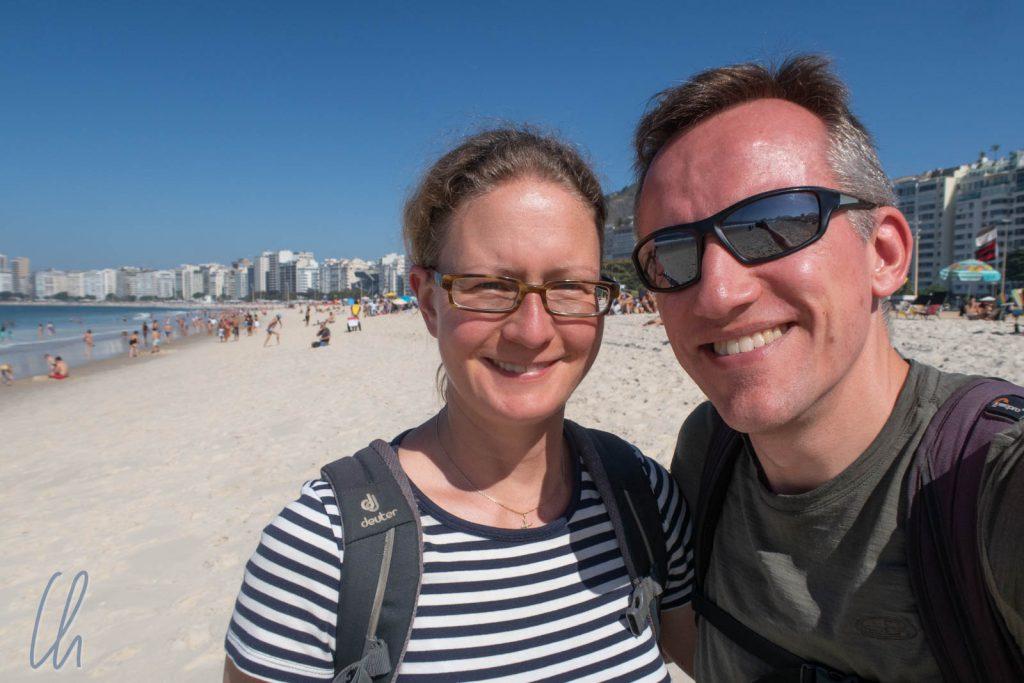 Willkommen in Rio de Janeiro an der Copacabana
