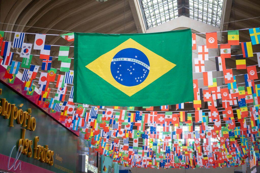 Die brasilianische Flagge mit den typischen Farben grün (steht für den Regenwald) und gelb (seht für die Bodenschätze).