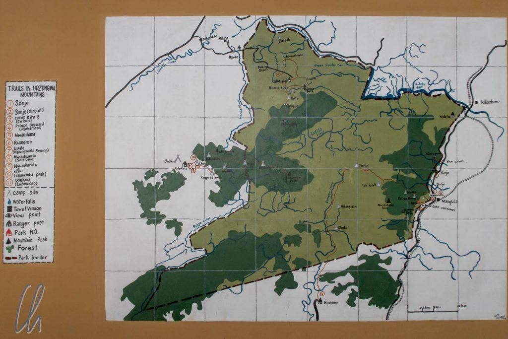 Eine Karte des Udzungwa Nationalpark, viel Wald und wenige Straßen oder Wege. Wir kamen von Nordosten.