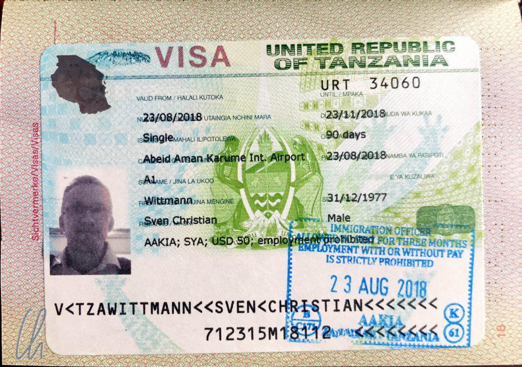 Unerkennbar personalisiert: Unser Tansania-Visum
