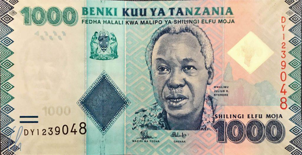 """Julius Nyerere auf dem 1000 Tsh-Schein: Hier führt es auch den Ehrentitel Mwalimu (""""Lehrer"""")."""