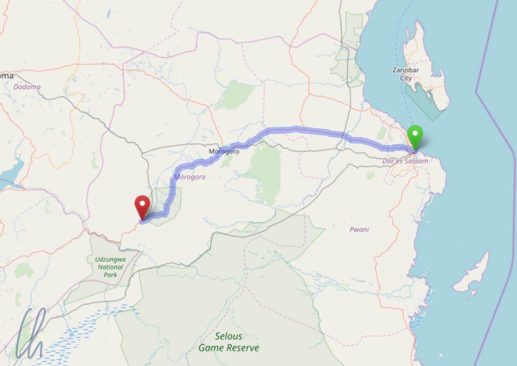 Die Route von Dar es Salaam nach Mikumi