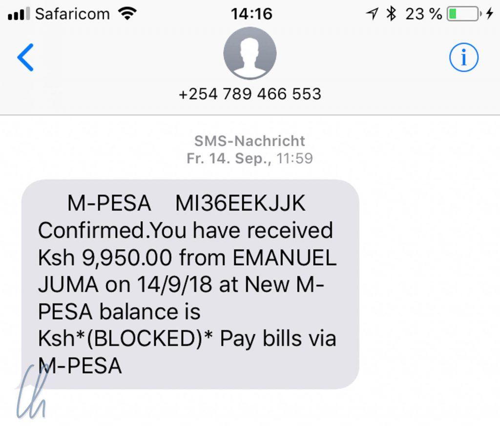 M-PESA Scam: Confirmed.You have received 9,950.00 from EMANUEL JUMA on 14/9/18 at New M-PESA balance is Ksh*(BLOCKED)* Pay Bills via M-PESA
