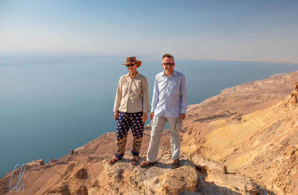 Blick über das Tote Meer am Dead Sea Panorama