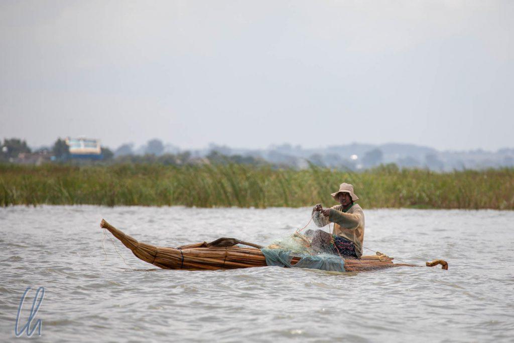 Ein Fischer im Tankwa auf dem Tanasee