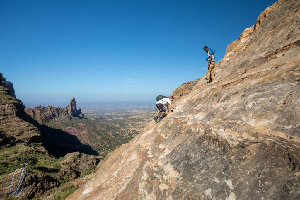 Free-Climbing auf dem Weg nach oben