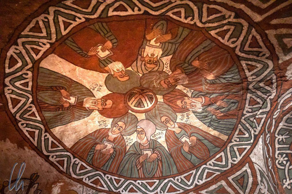 Acht der Neun Heiligen. Abuna Yemata ist unterhalb auf der Wand zu Pferd abgebildet.