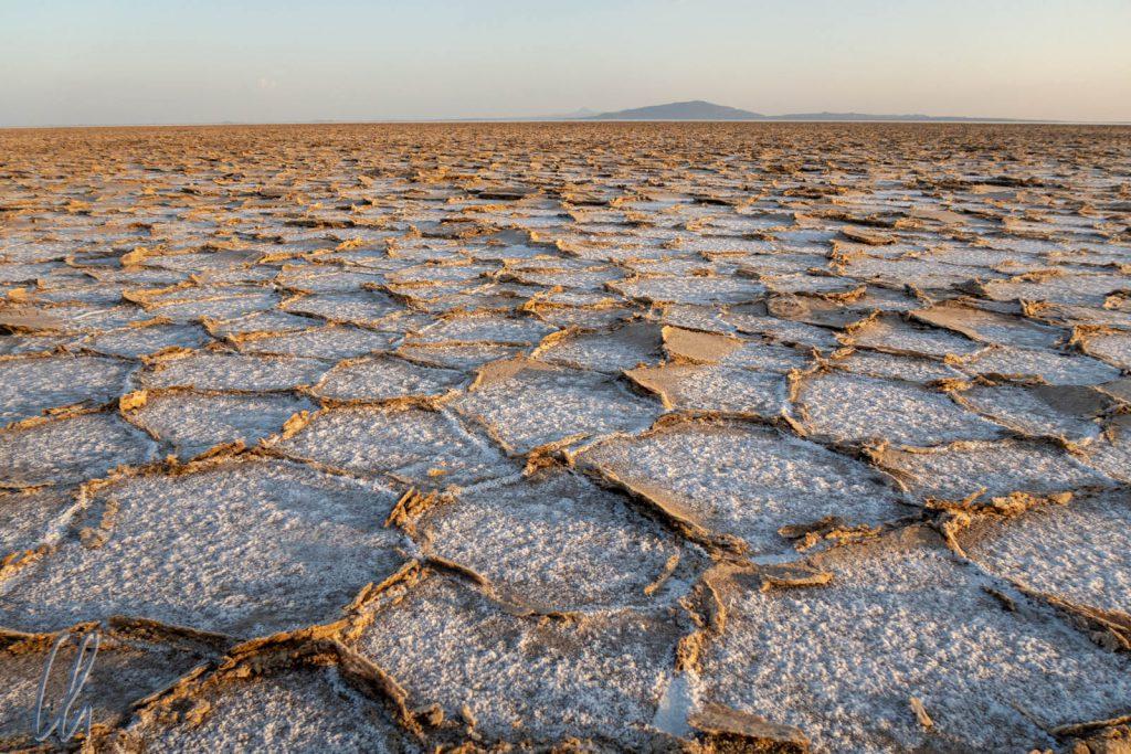 Endlose Weiten. Wabenartige Strukturen der Salzpfanne am Karumsee