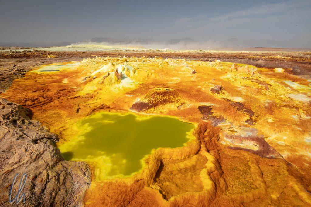 Ein heißer Anblick! Das Geothermalgebiet am Dallol protzt mit kräftigen Farben.