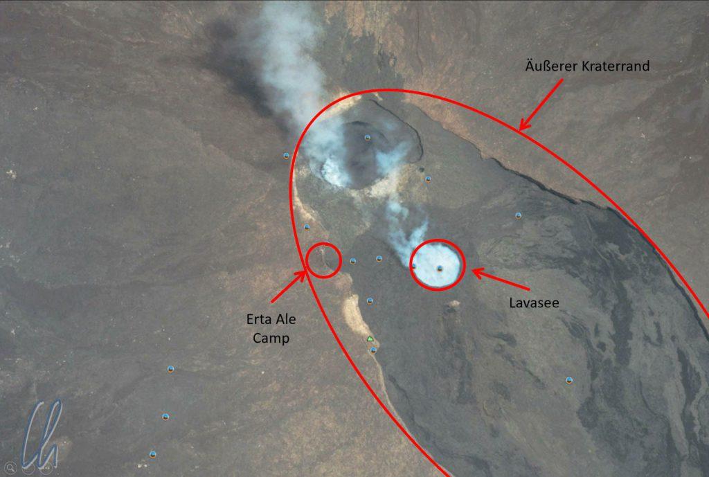 Ein Satellitenbild von Google Maps: Vom Camp aus stiegen wir in den äußeren Krater, in dem der Lavasee liegt.