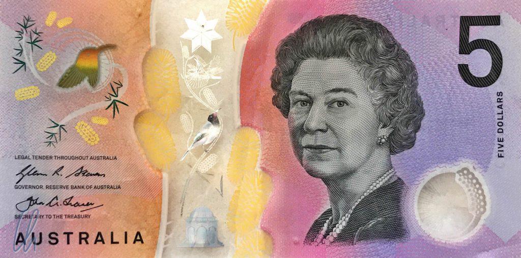 5 australische Dollar (2,95 Euro): Queen Elizabeth II