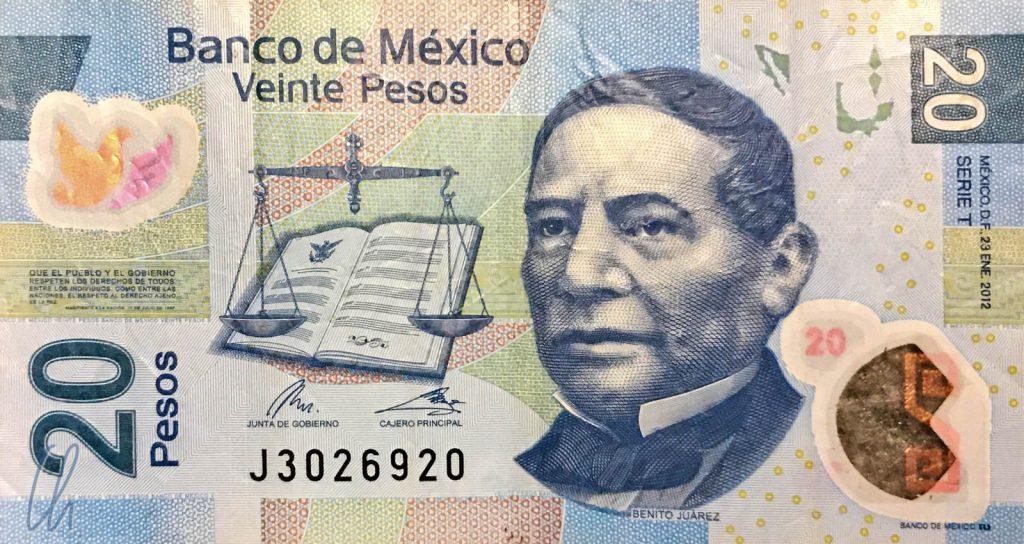 20 mexikanische Pesos (0,88 Euro): Benito Juarez, einer der verdienstreichsten Präsidenten Mexikos