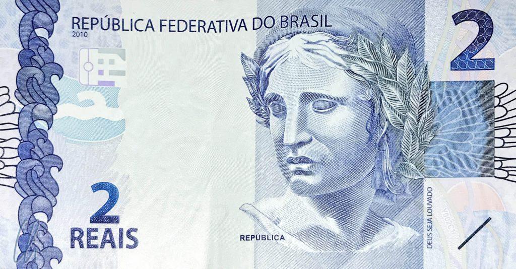 """2 brasilianische Reais (0,38 Euro): Die """"Efígie da República"""", die Personifizierung der Republik"""