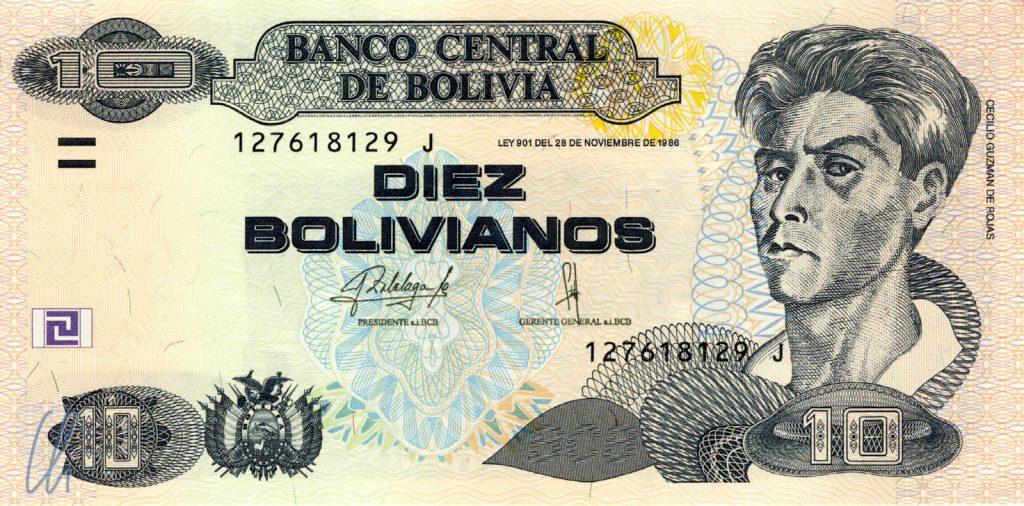 10 Bolivianos (1,29 Euro): Cecilio Guzmán de Rojas (indigener Maler, 1899–1950)