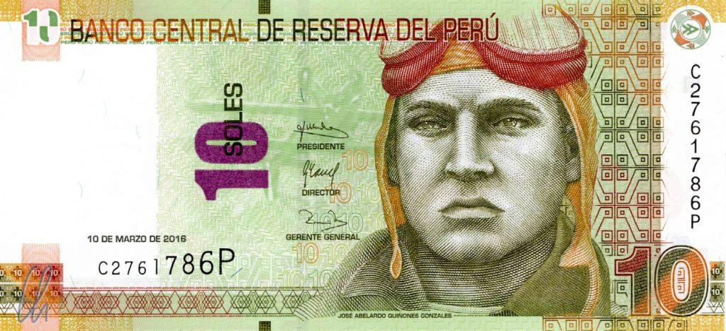 10 peruanische Soles (2,55 Euro): José Abelardo Quiñones Gonzales, peruanischer Flieger und Nationalheld