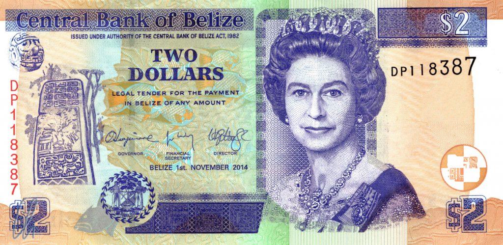 2 Belize Dollar (0,88 Euro): die junge Queen Elizabeth II