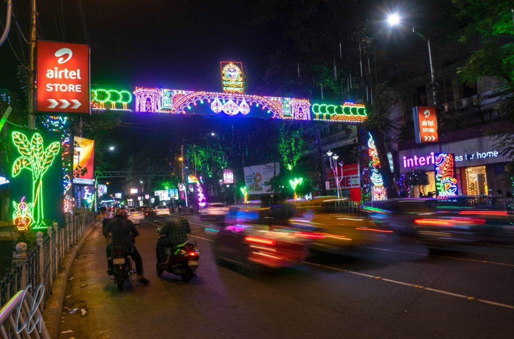 Diwali-Dekoration auf den Straßen von Kolkata