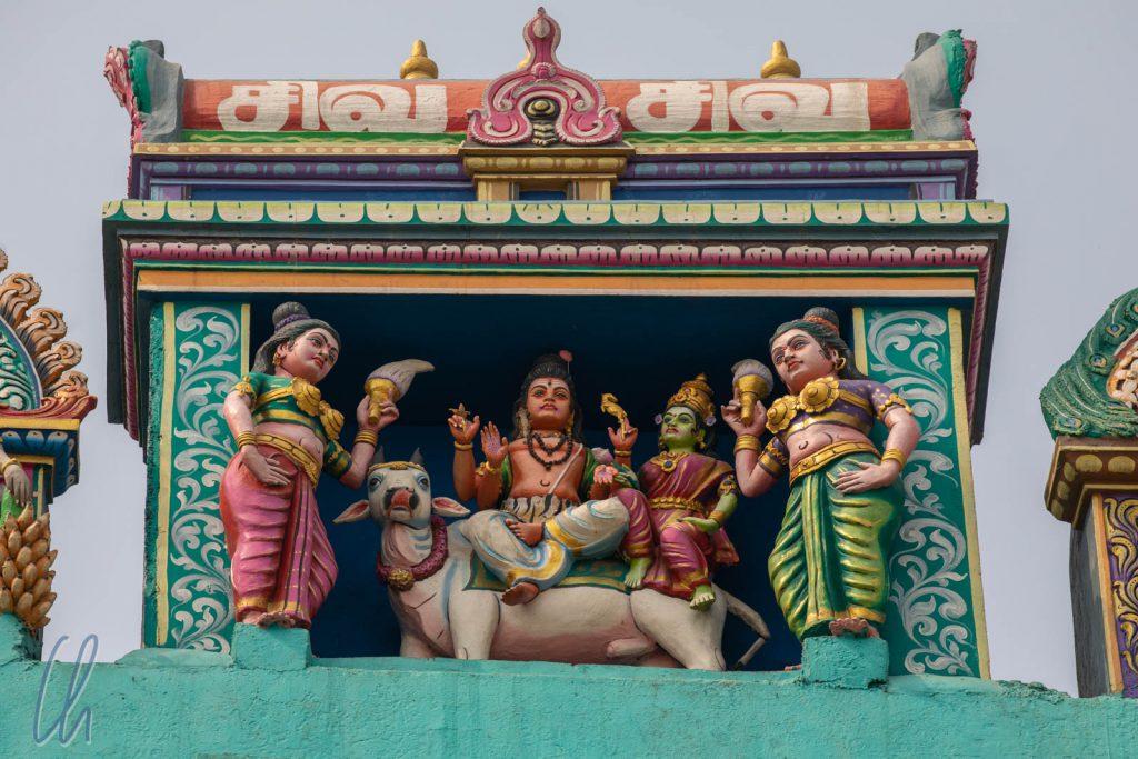 Shiva, der Gründer von Varanasi, auf seinem Reittier Nandi, dem Stier