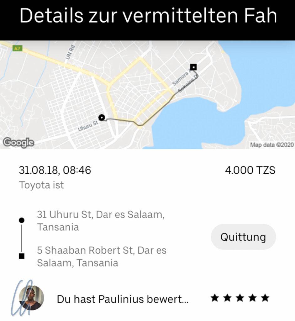Uber in Dar es Salaam, Tansania: transparent und zuverlässig