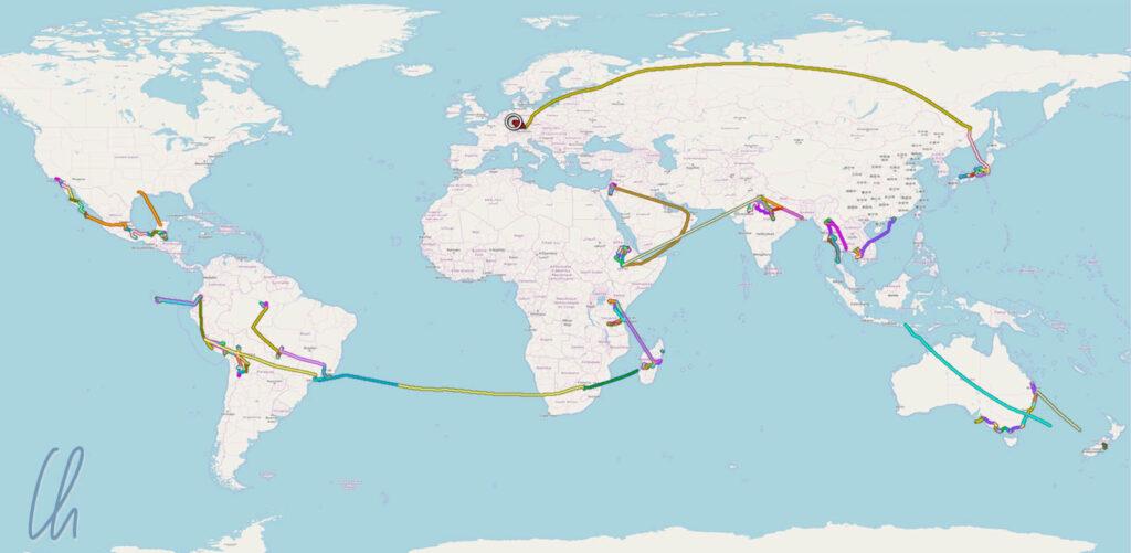 In 14 Monaten einmal um die Welt: Die Sammlung aller aufgezeichneten GPS-Tracks